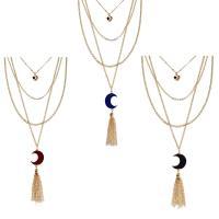 Achat Halskette, Zinklegierung, mit Eisquarz Achat, plattiert, für Frau & 3-Strang, keine, frei von Blei & Kadmium, 85mm, verkauft per ca. 15.5 ZollInch Strang