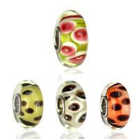 Lampwork Perlen European Stil, Rondell, handgemacht, verschiedene Muster für Wahl & Messing-Dual-Core ohne troll, 7.5x14.5mm, Bohrung:ca. 5mm, 10PCs/Tasche, verkauft von Tasche