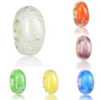 Lampwork Perlen European Stil, Rondell, handgemacht, Messing-Dual-Core ohne troll, keine, 7.5x14.5mm, Bohrung:ca. 5mm, 10PCs/Tasche, verkauft von Tasche