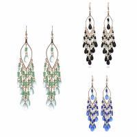 Mode-Fringe-Ohrringe, Zinklegierung, mit Glas-Rocailles & Glas, Eisen Haken, goldfarben plattiert, für Frau & facettierte, keine, frei von Blei & Kadmium, 25x60mm, verkauft von Paar