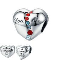 925 Sterlingsilber European Perlen, 925 Sterling Silber, Herz, verschiedene Stile für Wahl & mit Brief Muster & ohne troll & mit kubischem Zirkonia, Bohrung:ca. 4.5-5mm, verkauft von PC