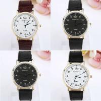Geneva® Unisex Uhr, PU Leder, mit Glas & Zinklegierung, goldfarben plattiert, mit Strass, keine, 40mm, Länge:ca. 9.4 ZollInch, verkauft von PC