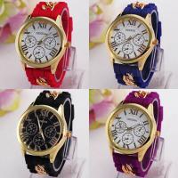 Geneva® Frauenuhr, Silikon, mit Glas & Zinklegierung, goldfarben plattiert, für Frau, keine, 42mm, Länge:ca. 9.4 ZollInch, verkauft von PC