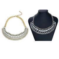 Plastik-Perlenkette, Zinklegierung, mit ABS-Kunststoff-Perlen, Eisen Karabinerverschluss, mit Verlängerungskettchen von 5cm, plattiert, für Frau & mit Strass, keine, frei von Blei & Kadmium, 50mm, verkauft per ca. 14 ZollInch Strang