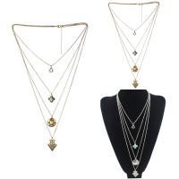 Mode Türkis Halskette, Zinklegierung, mit Eisenkette & Synthetische Türkis, mit Verlängerungskettchen von 5cm, plattiert, Oval-Kette & für Frau & 4-Strang, keine, frei von Blei & Kadmium, 45cm, verkauft per ca. 17 ZollInch Strang