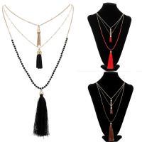 Glasperlen Halsketten, Zinklegierung, mit Eisenkette & Baumwollsamt & Glas-Rocailles, mit Verlängerungskettchen von 5cm, goldfarben plattiert, für Frau & 3-Strang, keine, frei von Blei & Kadmium, 54cm, verkauft per ca. 21 ZollInch Strang