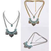 Mode Türkis Halskette, Zinklegierung, mit Eisenkette & Synthetische Türkis, mit Verlängerungskettchen von 5cm, plattiert, Twist oval & für Frau & 2 strängig, keine, frei von Blei & Kadmium, 38cm, verkauft per ca. 15 ZollInch Strang