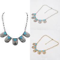Mode Türkis Halskette, Zinklegierung, mit Eisenkette & Synthetische Türkis, mit Verlängerungskettchen von 5cm, plattiert, Oval-Kette & für Frau, keine, frei von Blei & Kadmium, 35cm, verkauft per ca. 13 ZollInch Strang