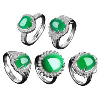 Edelstein Fingerring, 925 Sterling Silber, mit Grüner Chalcedon, verschiedene Stile für Wahl & Micro pave Zirkonia & für Frau, Bohrung:ca. 3-5mm, Größe:8, verkauft von PC