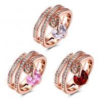 comeon® Finger-Ring, Messing, Schlange, Rósegold-Farbe plattiert, verschiedene Größen vorhanden & für Frau & mit kubischem Zirkonia, keine, 19mm, verkauft von PC