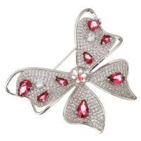 Messing Brosche Zubehör, mit Kristall, Schmetterling, platiniert, Micro pave Zirkonia & facettierte, 55x45x12mm, 1mm, Innendurchmesser:ca. 8mm, 5PCs/Menge, verkauft von Menge