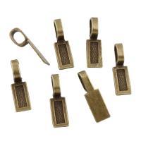 Zink-Legierung Cabochon Weissgold, Zinklegierung, Rechteck, antike Bronzefarbe plattiert, frei von Blei & Kadmium, 8x26x1mm, Bohrung:ca. 5x8mm, Innendurchmesser:ca. 4x11mm, 100G/Tasche, verkauft von Tasche