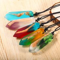 Holz Halskette, mit Nylonschnur & Harz, unisex, keine, 65cm, verkauft per ca. 25 ZollInch Strang
