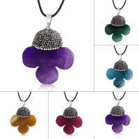 Geknister Achat Halskette, mit Ton & PU Leder, unisex, keine, 44x41mm, verkauft per ca. 17.5 ZollInch Strang