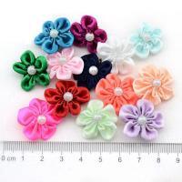 Mode Dekoration Blumen, Satinband, mit Kunststoff Perlen, für Kinder, keine, 22x22mm, 200PCs/Tasche, verkauft von Tasche