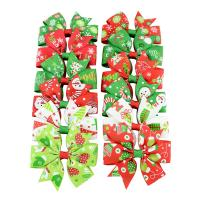Weihnachts-Haar-Clip, Ripsband, mit Polyester & Eisen, Schleife, Platinfarbe platiniert, für Kinder & Weihnachtsschmuck & verschiedene Muster für Wahl, 80x80mm, 46mm, 10PCs/Menge, verkauft von Menge