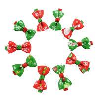 Weihnachts-Haar-Clip, Ripsband, mit Polyester & Eisen, Schleife, Platinfarbe platiniert, für Kinder & Weihnachtsschmuck & verschiedene Muster für Wahl, 50x25mm, 41mm, 10PCs/Menge, verkauft von Menge