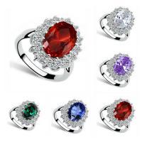 Kristall Fingerring, Zinklegierung, mit Kristall, flachoval, Platinfarbe platiniert, für Frau & facettierte & mit Strass, keine, frei von Blei & Kadmium, 14x16mm, Größe:6-9, verkauft von PC