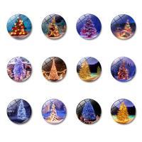 Weihnachten Kühlschrankmagnete, Glas, mit Magnetische Hämatit, flache Runde, Zeit Edelstein Schmuck & verschiedene Muster für Wahl & Aufkleber, 30x8mm, 10PCs/Tasche, verkauft von Tasche