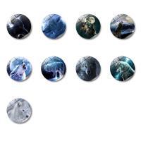 Kühlschrankmagnete, Glas, mit Magnetische Hämatit, flache Runde, Zeit Edelstein Schmuck & verschiedene Muster für Wahl & Aufkleber, 30x8mm, 10PCs/Tasche, verkauft von Tasche