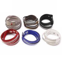 Wrap Armband , PU Leder, für Frau & mit Strass & 2 strängig, keine, frei von Nickel, Blei & Kadmium, 20mm, verkauft per ca. 15.7 ZollInch Strang