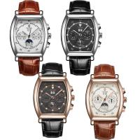 TEVISE® Uhrenkollektion, Kuhhaut, mit Glas & Edelstahl, plattiert, 30 m wasserdicht & stem-Winder & einstellbar & für den Menschen, keine, 44x15mm, Länge:ca. 9.4 ZollInch, verkauft von PC