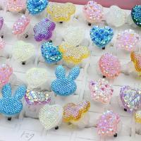 Acryl Manschette Fingerring, für Kinder & offen & gemischt, 27x35x27mm-28x37x28mm, Größe:6-9, 50PCs/Box, verkauft von Box