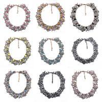 Kristall Halskette, Zinklegierung, mit Kristall, mit Verlängerungskettchen von 2.3lnch, plattiert, für Frau & mit Strass, keine, frei von Nickel, Blei & Kadmium, 35mm, verkauft per ca. 16.1 ZollInch Strang