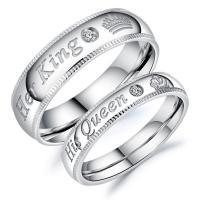 Ehepaar Fingerringe, Titanstahl, verschiedene Größen vorhanden & für paar & mit kubischem Zirkonia, originale Farbe, 6mm, 4mm, Bohrung:ca. 16mm, verkauft von Paar