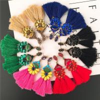 Mode-Fringe-Ohrringe, Zinklegierung, mit Nylonschnur, QuasteTroddel, goldfarben plattiert, hypoallergenic & für Frau & mit kubischem Zirkonia, keine, frei von Nickel, Blei & Kadmium, 27x95mm, verkauft von Paar