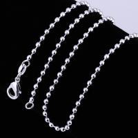 Messingkette Halskette, Messing, rund, silberfarben plattiert, unterschiedliche Länge der Wahl & unisex & Kugelkette, frei von Nickel, Blei & Kadmium, 2mm, verkauft von Strang