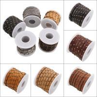 Lederband, PU Leder, mit Nietstollen, keine, 5x3mm, 5WerftenHof/Spule, verkauft von Spule