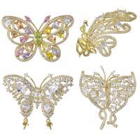 Messing Brosche Zubehör, Schmetterling, vergoldet, verschiedene Stile für Wahl & mit kubischem Zirkonia, verkauft von PC
