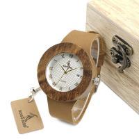 BOBOBIRD® Unisex Uhr, PU Leder, mit Zifferblatt aus Holz & Glas & Edelstahl, mit Einzelkalender & einstellbar, originale Farbe, 42mm, 19mm, Länge:ca. 8.5 ZollInch, verkauft von PC