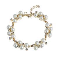 Zinklegierung Armband, mit ABS-Kunststoff-Perlen, mit Verlängerungskettchen von 5cm, goldfarben plattiert, für Frau, frei von Blei & Kadmium, 16mm, verkauft per ca. 7.5 ZollInch Strang
