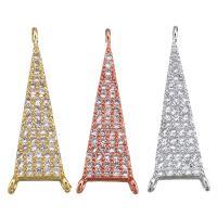 Befestiger Zirkonia Messing Schmuckverbinder, Dreieck, plattiert, Micro pave Zirkonia & 1/2-Schleife, keine, 9x27x2mm, Bohrung:ca. 1mm, 5PCs/Menge, verkauft von Menge