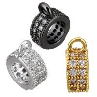 Messing Stiftöse Perlen, Kreisring, plattiert, Micro pave Zirkonia, keine, 4x11x8mm, Bohrung:ca. 2mm, 5mm, 10PCs/Menge, verkauft von Menge