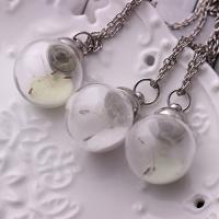 Zinklegierung Halskette, mit Glas, mit Verlängerungskettchen von 1.9Inch, rund, silberfarben plattiert, mit Löwenzahnsamen & Twist oval & für Frau & glänzend, keine, frei von Nickel, Blei & Kadmium, 19x29mm, verkauft per ca. 20.4 ZollInch Strang