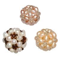 Ball Cluster Zuchtperlen, Natürliche kultivierte Süßwasserperlen, mit Glas-Rocailles, rund, keine, 17-20mm, verkauft von PC