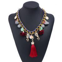 Zinklegierung Halskette, mit Caddice & Plüsch & Harz, mit Verlängerungskettchen von 5cm, goldfarben plattiert, für Frau, frei von Blei & Kadmium, 450mm, verkauft per ca. 17.5 ZollInch Strang
