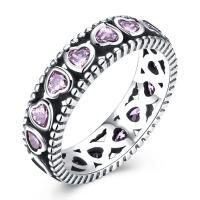 comeon® Finger-Ring, Thailand, mit einem Muster von Herzen & verschiedene Größen vorhanden & für Frau & mit kubischem Zirkonia, 6mm, verkauft von PC