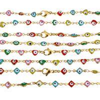 Edelstahl Kette Halskette, goldfarben plattiert, böser Blick- Muster & verschiedene Stile für Wahl & für Frau & Emaille, Länge:ca. 17 ZollInch, 10SträngeStrang/Menge, verkauft von Menge