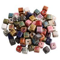 Porzellan Schmuckperlen, Würfel, glaciert, keine, 10x10mm, Bohrung:ca. 2mm, 500PCs/Tasche, verkauft von Tasche