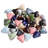 Porzellan Perle, Dreieck, glaciert, keine, 16x15x7mm, Bohrung:ca. 2mm, 100PCs/Tasche, verkauft von Tasche