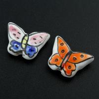 Porzellan Schmuckperlen, Schmetterling, glaciert, keine, 17x14x5mm, Bohrung:ca. 2mm, 500PCs/Tasche, verkauft von Tasche