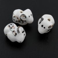Porzellan Schmuckperlen, glaciert, 18x14x9mm, Bohrung:ca. 1mm, 100PCs/Tasche, verkauft von Tasche