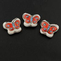 Porzellan Schmuckperlen, Schmetterling, glaciert, 17x14x6mm, Bohrung:ca. 1mm, 100PCs/Tasche, verkauft von Tasche