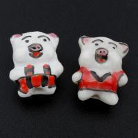 Porzellan Schmuckperlen, Schwein, glaciert, keine, 14x18x10mm, Bohrung:ca. 2mm, 500PCs/Tasche, verkauft von Tasche