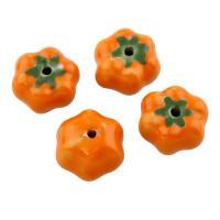 Porzellan Schmuckperlen, Kürbis, glaciert, 17x10mm, Bohrung:ca. 2mm, 500PCs/Tasche, verkauft von Tasche