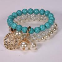 Glas Armband-Set, Armband, mit ABS-Kunststoff-Perlen & Harz & Zinklegierung, für Frau, keine, 6-8mm, Länge:ca. 7.5 ZollInch, 3SträngeStrang/setzen, verkauft von setzen